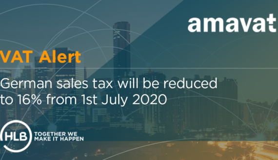VAT ALERT - German sales tax will be temporarily reduced to 16% from 1st July 2020