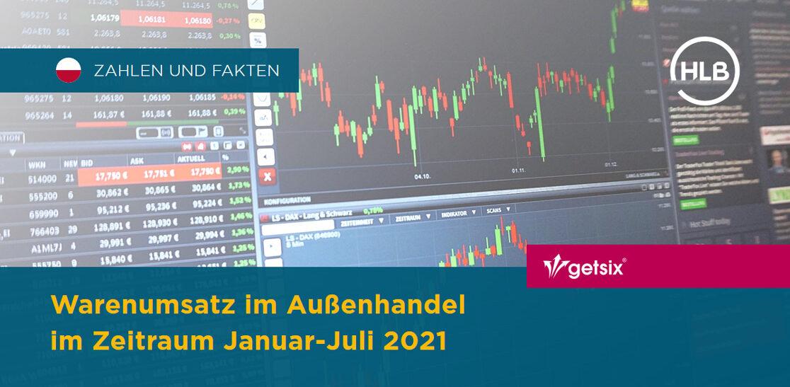 Gesamtumsatz des Außenhandels mit Waren und nach Ländern im Januar-Juli 2021